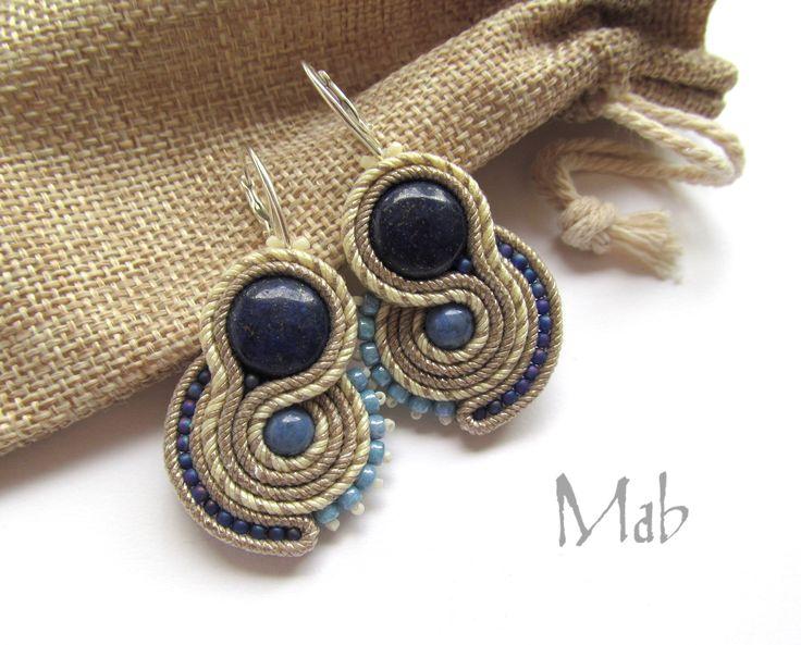 Kolczyki sutasz z lapis lazuli - Mab Magdalena Bielska