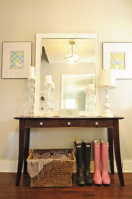 Like the table w/ mirror for entryway, and also the basket
