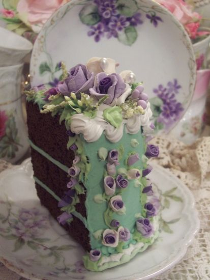 (loftylavender) Fake Food Slice of Cake Shabby Lavender Roses Victorian