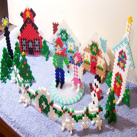 3D Christmas Village (Set of 17) Perler beads by CreativeXpression1
