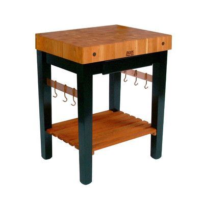 """John Boos Rouge et Noir Prep Table with Butcher Block Top Size: 24"""" W x 24"""" D, Drawers: Not Included, Casters: Not Included"""
