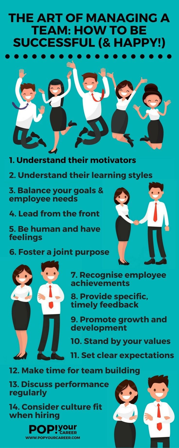 Managing a team is an art form! Follow these tips to ensure you are a successful (and happy) manager! ~ Pop Your Career