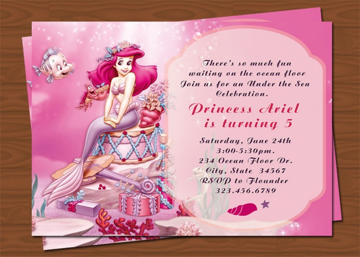 Best Princess Ariel Birthday Party Images On Pinterest Ariel - Custom ariel birthday invitations