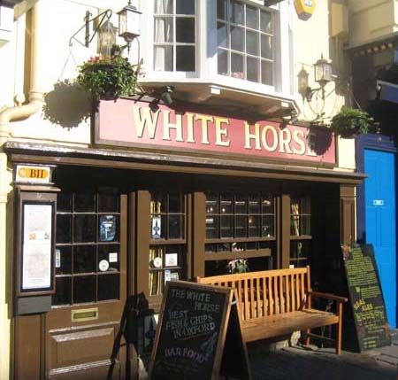 "The White Horse in Oxford ~ one of Colin Dexter's fave pubs and also where Mr Baines, Second Master of the Roger Bacon School arranges to meet Morse in ""Last Seen Wearing"""