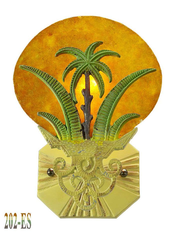 Vintage Hardware & Lighting - Art Deco Wall Fixtures Sconces Tropical Sunset Palm Tree (202-ES)