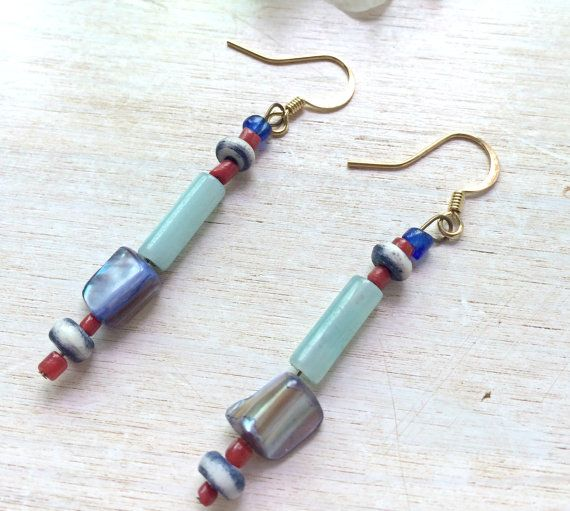 Dangle Earrings Boho Gypsy Jeans Fashion Style  by BatyaHavDesign