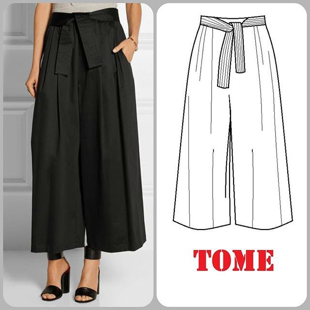 Lusting over #Tome Tie-Waist Culottes made out of stretch cotton (95% cotton). The shoes has got to be the most perfect pairing for these pants. Point noted! #technicaldrawing #illustration #fashion #style #sewing