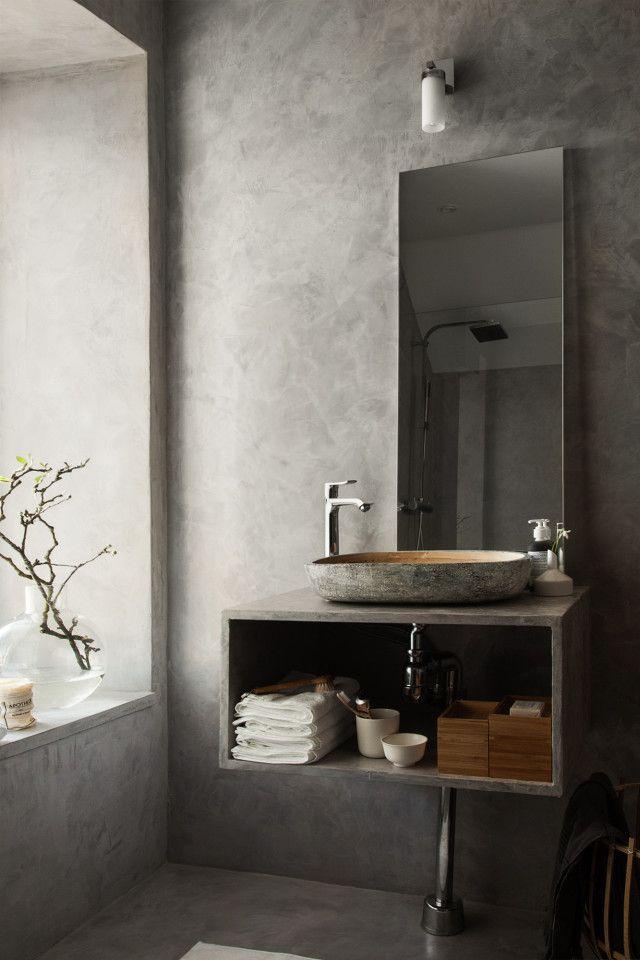 hur man gör ett badrum i puts så det ser ut som betong.
