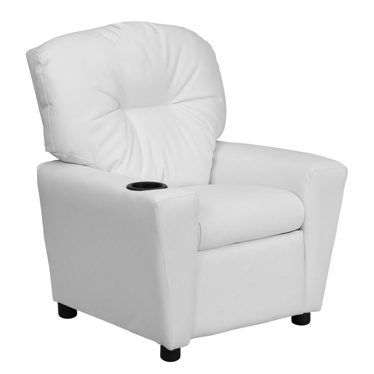Flash Furniture Contemporary White Vinyl Kids Recliner With Cup Holder  [BT 7950 KID