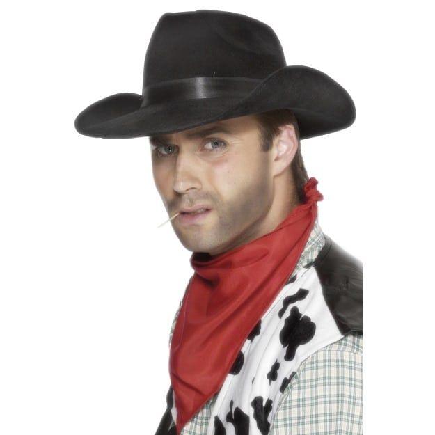 Black Cowboy Hat Adult Fancy Dress Western Mens Ladies Costume Accessory Hat