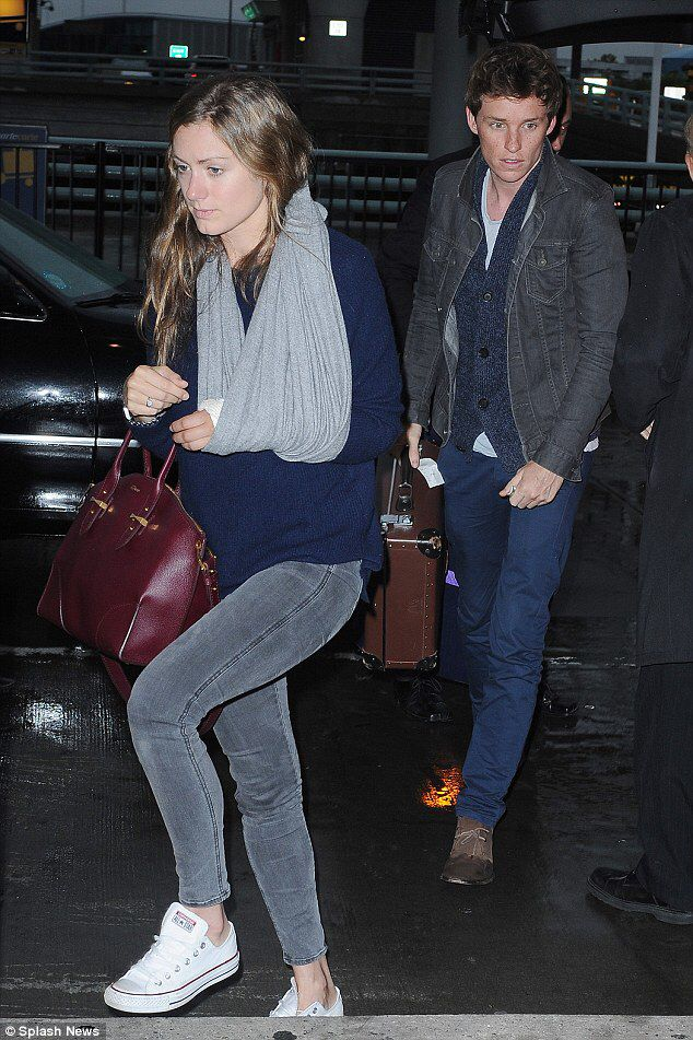 Eddie Redmayne and Hannah Bagshawe at JFK