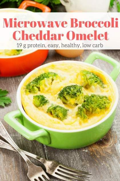 This Microwave Broccoli Cheddar Omelet is ready in under 5 minutes for a healthy, filling breakfast that can be customized any way you like. Plus it is low carb, gluten free, and under 200 calories.