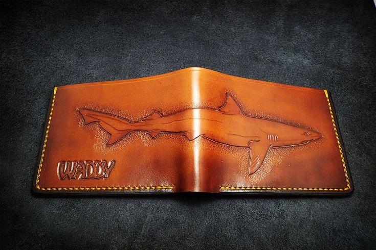 Leather Carved Shark Wallet