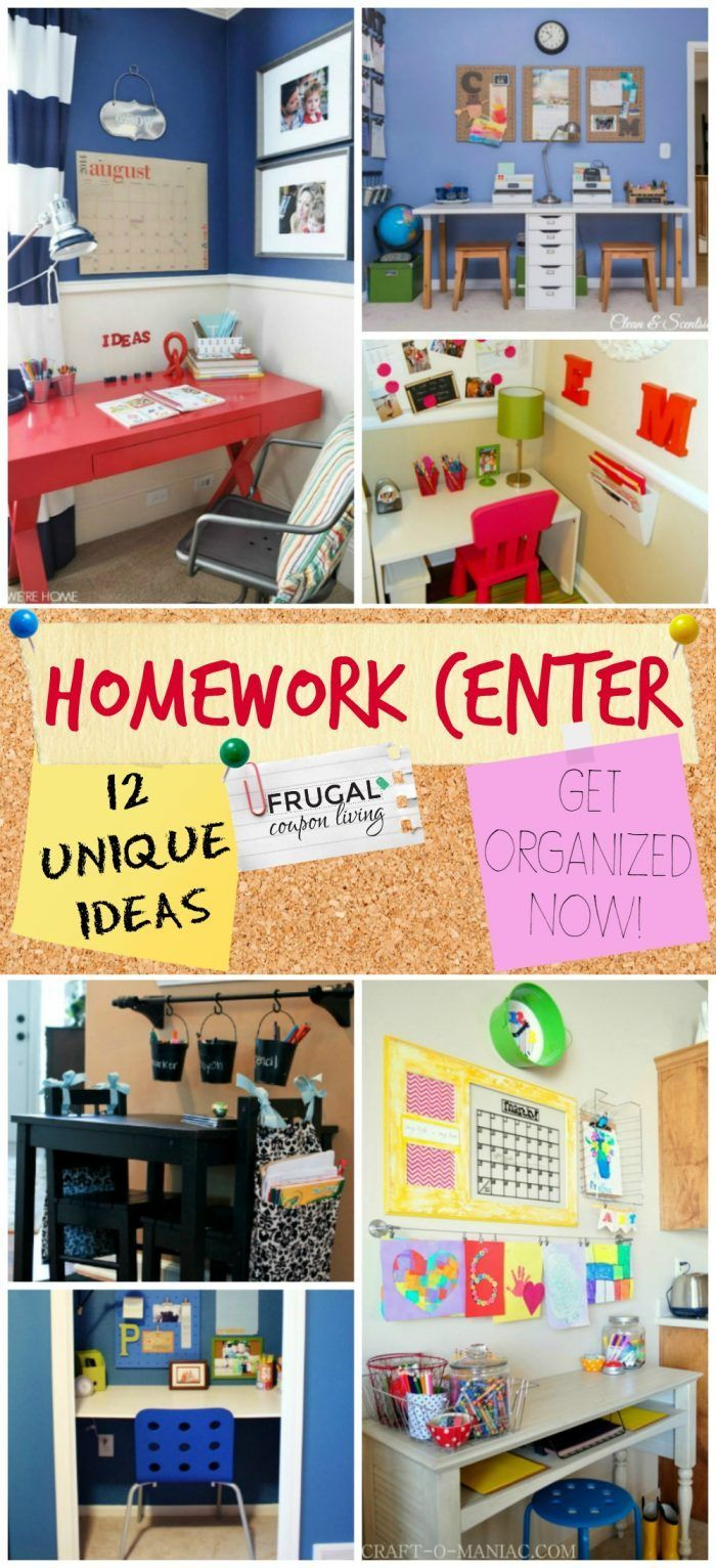 Inspiring Homework Center Ideas on Frugal Coupon Living. Organize your life and home before the Back to School Season. Home Organizing Tips Ideas.