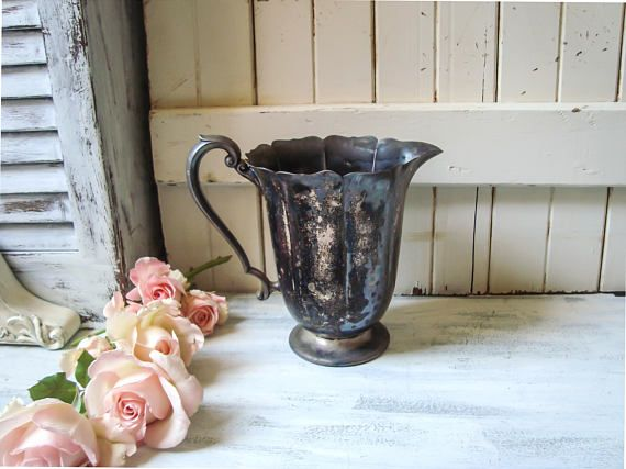 Farmhouse Silver Plate Pitcher Malden Rogers Rustic Pitcher