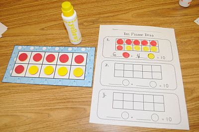 Ten frame toss! This is a fun game to practice decomposing the number ten. To play, students shake and spill a cup of ten two-color counters onto the table. They place them in the ten frame and fill in the recording sheet using bingo markers (or crayons). Finally, they write the equation.
