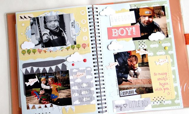 Recently I've found pictures from a walk with my son. I didn't want them to overlay another several years in some envelope, so I decided to frame it somehow. As I'm not a LO fan and I couldn't force myself to make an album - I've made a notebook entry. I have to say that I really like the notebooks form of preserving memories! [Sllonecznik]