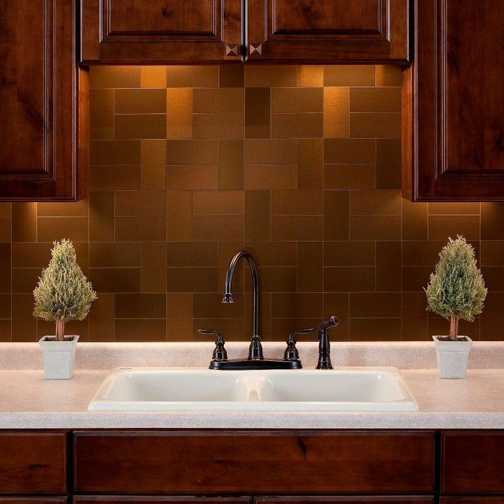 aspect short grain 6 in x 3 in brushed copper metal on wall tile id=81699