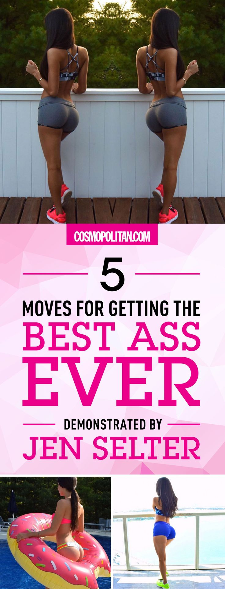 Use these 5 moves \u2014 donkey kicks, doggy hydrant, chair kicks, squat pulse, and squat kick \u2014 to get an ass like the Instagram famous, Jen Selter. Click through for the expert tips and instructions from Jen Setler herself. #totalbodytransformation