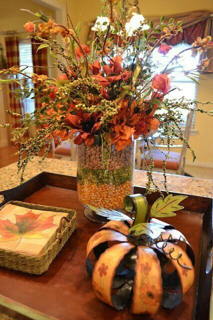 Thanksgiving decor - outer vase layered with dried beans