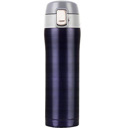 LOMATEE Isolierbecher aus Edelstahl Thermobecher Auslaufsicher Kaffebecher Reisebecher BPA frei Einhand-Verschluss 420ml f�r Bahnfahrt, Autofahrt, im Flugzeug usw.