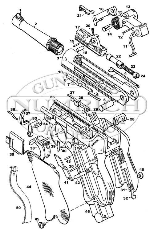 Numrich Gun Parts  German Luger P-08   Schematic Image
