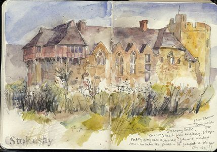Stokesay Castle, A6 sketchbook. Watercolour, Kathy Lewis