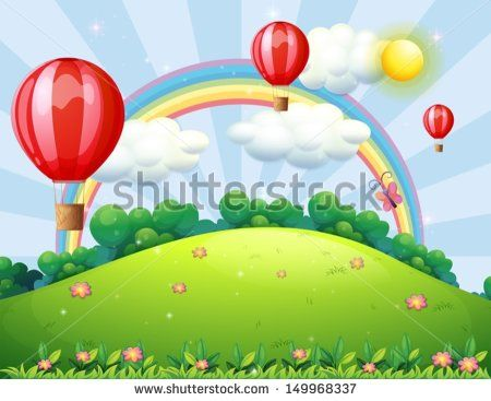 Illustration of the floating balloons at the hilltop with a rainbow - stock vector