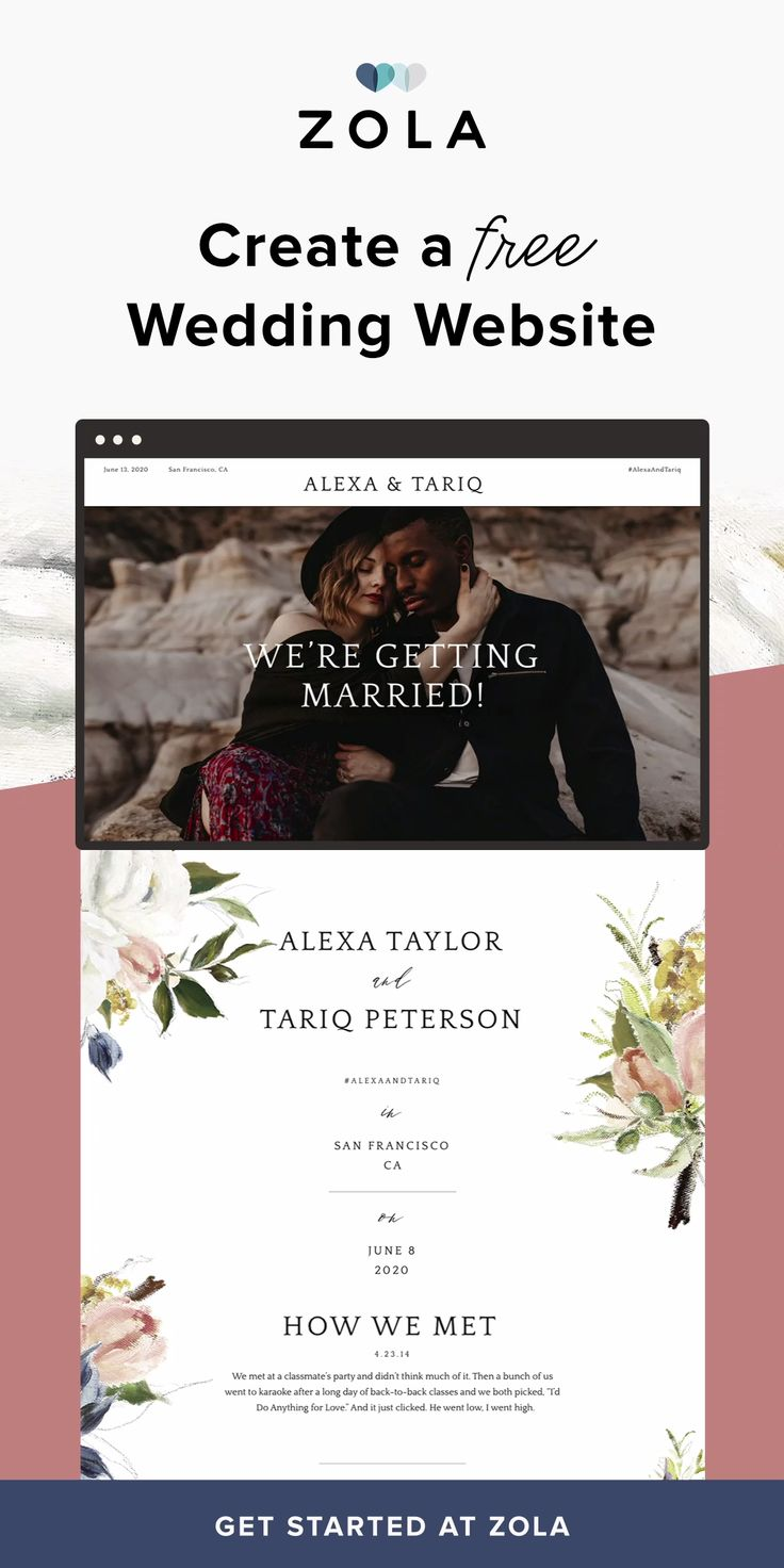 Start with a free, gorgeous wedding website. Then add matching save the dates and invitations. Zola makes registering easy for couples and guests, too. As the only place with gifts and gift cards from top brands AND honeymoon funds, you can fill your registry in minutes. Plus, get free shipping and returns, 20% off post-wedding, and more.