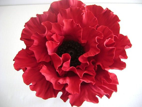 Red Poppy Cake Topper Flower Cake Topper Clay Wedding by parsi