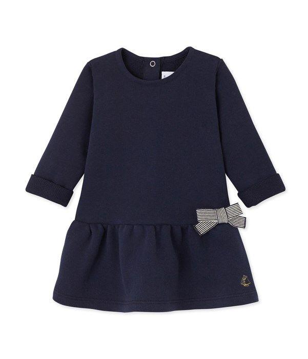 Robe bébé fille en molleton Petit Bateau bleu