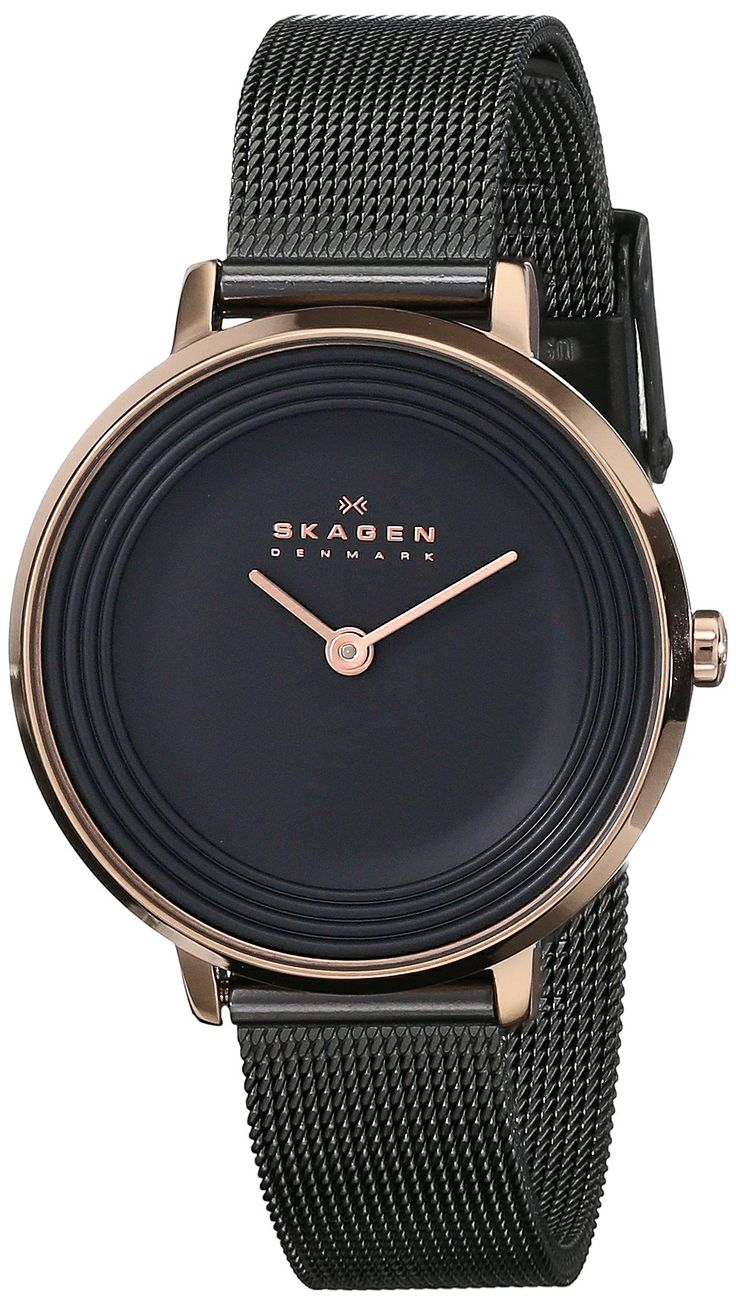 Amazon.com: Skagen Women's SKW2277 Ditte Rose-Tone Stainless Steel Watch with Black Mesh Bracelet: Skagen: Watches