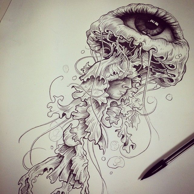 jellyfish tattoo drawing - Google Search