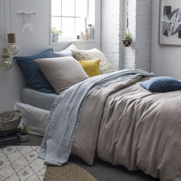 Les 42 meilleures images du tableau parure de lit 100 lin sur pinterest consolateur housses - Parure de lit en lin ...