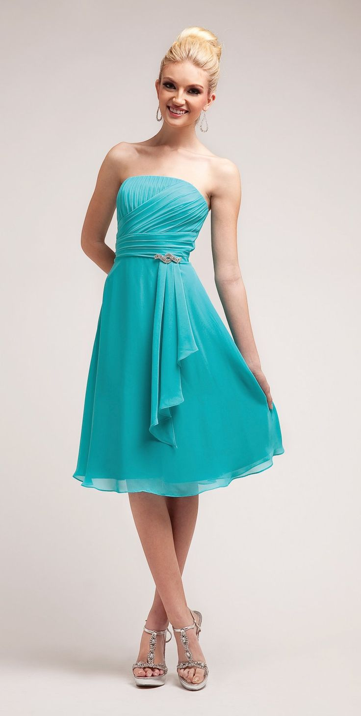 Simple a line knee length aqua bridesmaid dress chiffon for Aqua blue dress for wedding