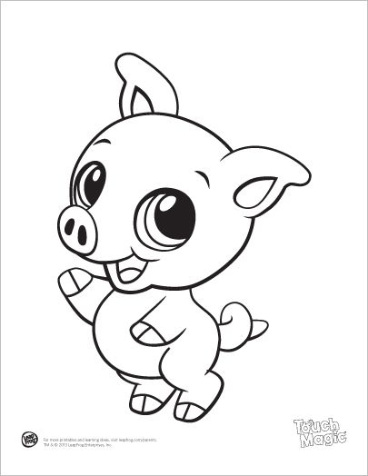 learning friends pig baby animal coloring printable from leapfrog the learning friends prepare kids for - Small Coloring Pages