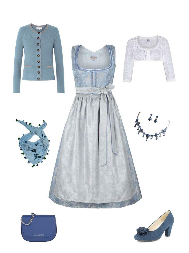 Ein märchenhafter Dirndllook in blau und silber! Für einen stilvollen Auftritt sorgen die bezaubernden Trachtenkette und die königsblaue Handtasche.