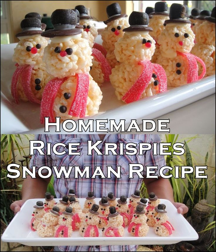 """Homemade Rice Krispies Snowman Recipe  Homesteading  - The Homestead Survival .Com     """"Please Share This Pin"""""""