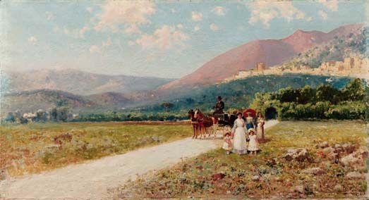 Famiglia Tasca (Villa Camastra), 1904, olio su tela, 68x120 cm, collezione privata
