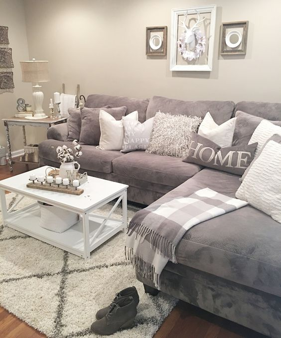 . Gray and white   bedrooms   Pinterest   Gray  Living room