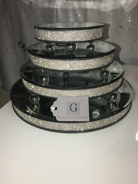 Stunning Sparkle glitz candle plates/ cake stands - size options | The Glitter Furniture Company®