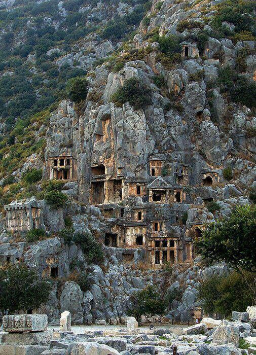 The Rock Tombs of Myra, Turkey date back to Roman times. Other Roman ruins can be found nearby.