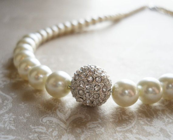 Rhinestone Bridal Necklace Pearl Bridal by PearlyJaneBridal, $34.00