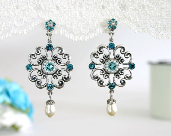 Blue wedding earrings, Wedding earrings, Blue #weddings #jewelry @EtsyMktgTool http://etsy.me/2fZBQqZ