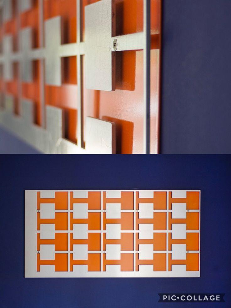 Retro-laser cut brushed aluminum plate backed with custom painted pearl orange panel mounted on aluminum standoffs.#art#fineart#laser#retro#modern#interiordesign#sculpture#unique#industrial#vintage