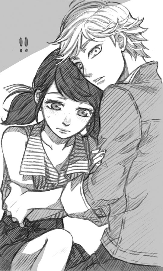 """messysketchpad: """" My headcanons of Adrienette consist a lot of Marinette going """"……"""" to Adrien's face (bc whoa this guy looks kinda like someone she knows). And yeah Adrienette is my favorite pairing out of the whole messy love square UvU These were..."""