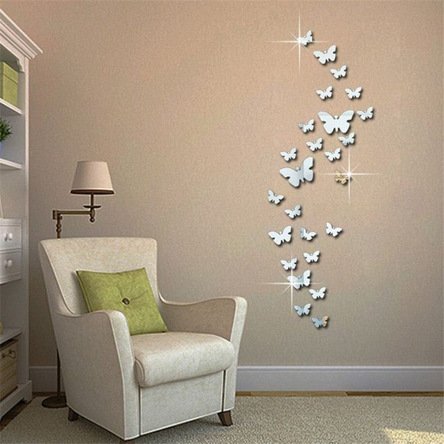 12pcs 3d Mirror Butterfly Wall Stickers Decal Wall Art Removable Homer Room Party Wedding Si Butterfly Wall Decor 3d Butterfly Wall Decor Butterfly Wall Decals