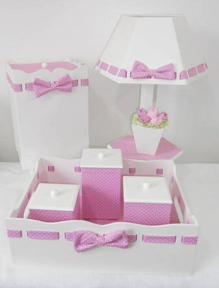 Kit MDF passa fita rosa de poá branco com forração em tecido e aplicação de vasinho de tulipas na luminária.  Pode ser feito em outra cor.  As peças podem ser vendidas separadamente.  Consulte nossos preços! Peça seu orçamento!