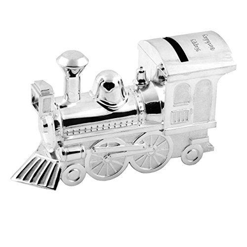 """""""Personalised Engraved Silver Plated Train Money Box, Christening, Free Engraving"""""""