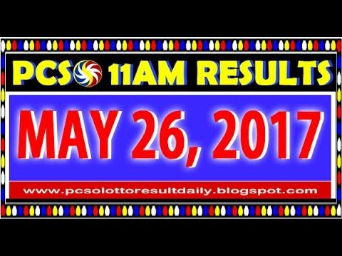 PCSO MidDay - 11AM Results May 26, 2017 (SWERTRES & EZ2)